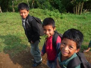 Saq Ja' children walking to school