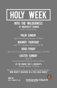 You are welcome to join us for Holy Week. Let us worship God together.